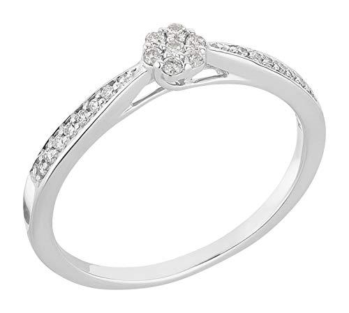 Ardeo Aurum Damenring aus 375 Gold Weißgold mit 0,14 ct Diamant Brillant Solitär Verlobungsring