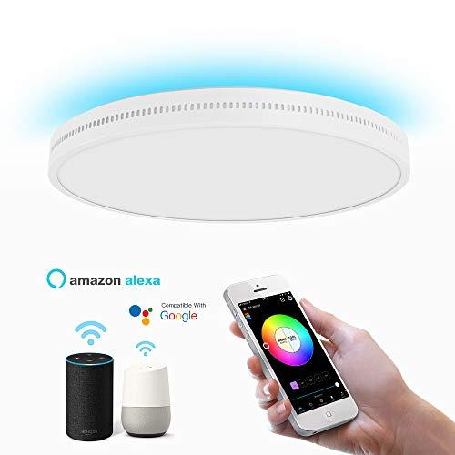 OFFDARKS Smart WiFi Plafón Compatible con Amazon Alexa y Google Assistant, Lámpara de techo LED regulable moderna Cambio de color Ambiente Fiesta para sala de estar Dormitorio Luz de noche φ45cm 72w