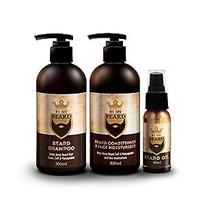 Paquete completo de productos By my Beard con champú y acondicionador para barba y aceite hidratante facial