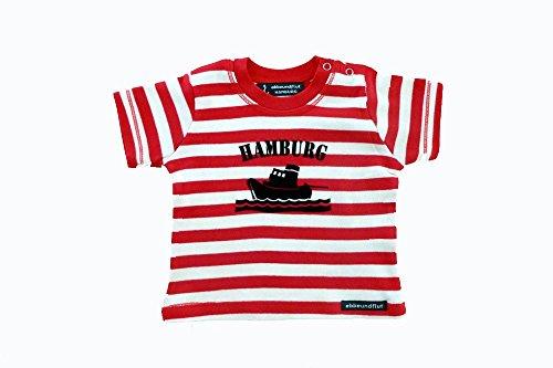 Baby-Shirt Schlepper Hamburg rot-weiß - fair- maritimes Babyshirt von ebbeundflut maritimes Design...