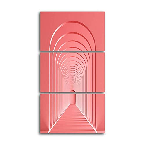 3d rendering arc rhythm hallway with LED strip light in pink color Canvas Prints Wall Decor 3 Pieces Vertical Contemporary Artworks for Bedroom Bathroom Office Gifts 12x20inchx3pcs
