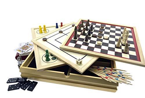 Holz Spielesammlung mehr als 100 Spielmöglichkeiten 20 Spiel Klassiker