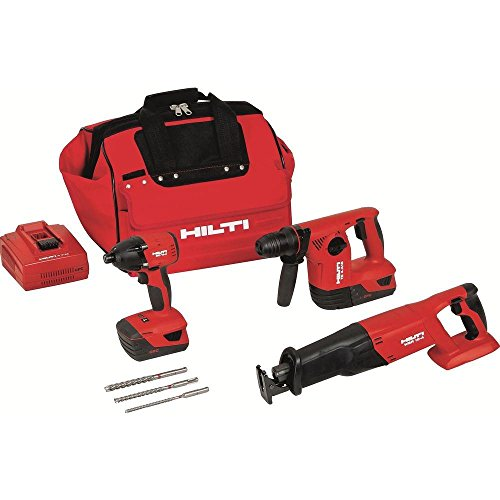 Hilti 3487022 18-Volt Lithium-Ion Cordless Rotary Hammer Drill/Reciprocating Saw/Impact Driver Combo Kit