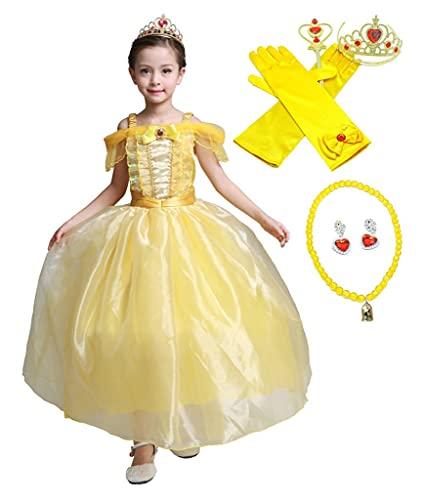 Lito Angels Vestido de Princesas Bella con Accesorios para Niña Disfraz de Halloween Carnaval Fiesta Cumpleaños Festival Talla 10-11 Años