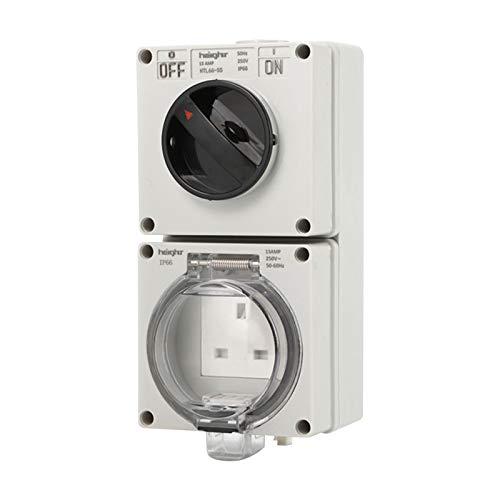 Enchufe de interruptor impermeable, IP66 Premium montado en la pared enchufe con interruptor, toma de corriente eléctrica de pared para iluminación interior exterior y dispositivo eléctrico