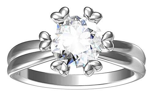 5JOYAS Impresionante Anillo Oro Blanco 18kt Y 1 Quilate De Diamante G-VS1 con Certificado GIA.(Talla 6 a 27).