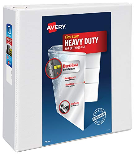"""Avery Heavy Duty View 3 Ring Binder, 4"""" One Touch Slant Ring, Holds 8.5"""" x 11"""" Paper, 1 White Binder (79704)"""