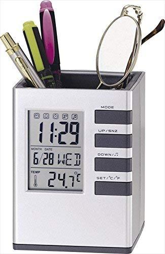 キューブデスクスタンド 【時計付きペン立て デジタル 時計 カレンダー 温度計 アラーム タイマー 粗品 販促】