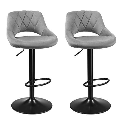 SONGMICS Barhocker, 2er Set Barstühle, Küchenstühle mit stabilem Metallgestell, Stühle mit Samtbezug, Fußstütze, Sitzhöhe verstellbar, einfache Montage, Retro, hellgrau LJB072G02
