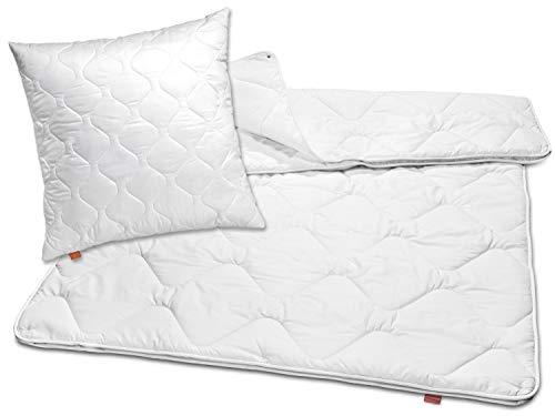 sleepling 192809 Bettwaren-Set Basic 160 Kopfkissen 80 x 80 cm + 4-Jahreszeiten Decke 135 x 200 cm Mikrofaser warm weiß