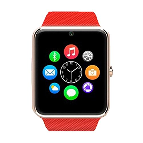 Alike C08 Men and Women Fashion Bluetooth Smart Watches Can Phone and Camera Sports Watch(Gold with Red Band)
