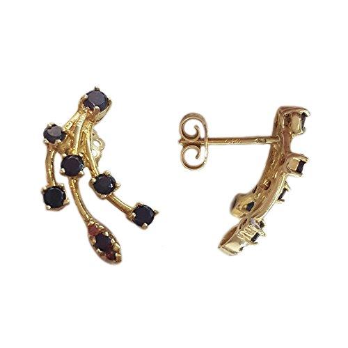 Superstar Orecchini Donna in Oro 18 carati Giallo con Granato, 4.5 Grammi