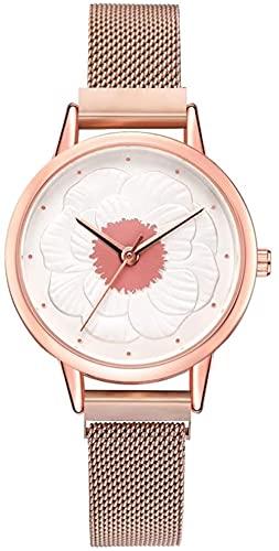JZDH Mano Reloj Relojes Mujeres Relojes de Pulsera Ladies Flower Impreso Dial Alloy Mesh Strap Aleación Reloj de Cuarzo Relojes Decorativos Casuales