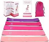 elastici fitness (set di 5), banda fasce elastiche fitness esercizi con 5 livelli di resistenza,elastico fitness di lattice naturale con istruzioni per l'esercizio per crossfit, yoga, pilates