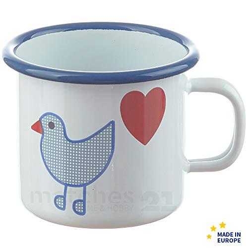 matches21 Kleiner Email Trinkbecher Becher für Kinder/Emaille Kindergeschirr Ente mit Herz 7 x 7 cm / 200 ml