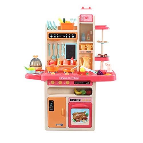 Simule juguetes de cocina, juguetes de cocina con luces frescas, vajilla simulada con efectos de sonido dinámicos, 3 niveles de combinaciones de clasificación de alimentos con volumen ajustable