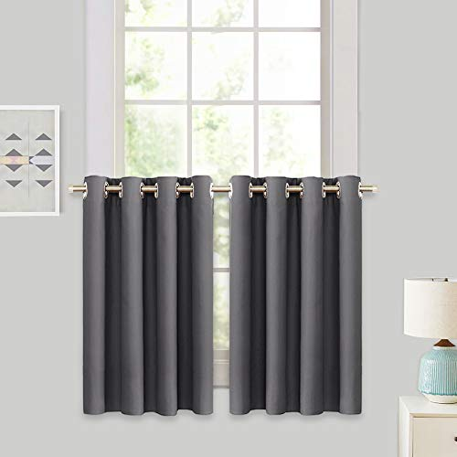 RYB HOME Decor Window Treatment Tier Curtains for Bathroom, Insulated Panels for Bedroom Short Blackout Curtain Tiers for Kitchen Small Window/Living Room, W 52 inches by L 36 inches, Grey, 1 Pair