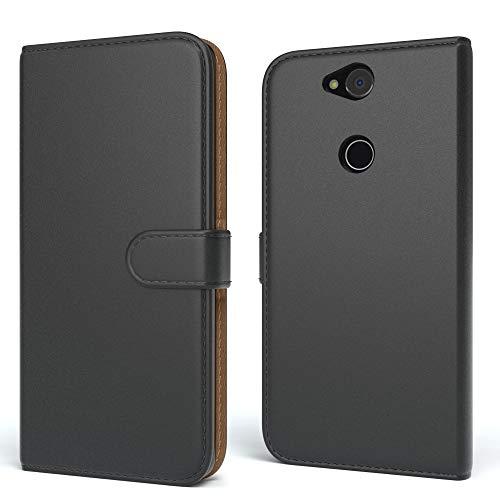 EAZY CASE Tasche für Sony Xperia XA2 Plus Schutzhülle mit Standfunktion Klapphülle im Bookstyle, Handytasche Handyhülle Flip Cover mit Magnetverschluss & Kartenfach, Kunstleder, Schwarz