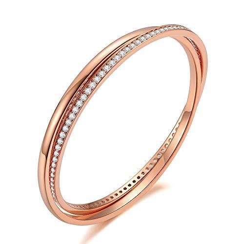 Italina Bangle voor Damesmode Armband Sieraden Dubbele Ringen Armband Trouwring voor Dames Meiden Verjaardag Verjaardagscadeau
