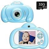 Toys Camera Mini 2.0 Pulgadas HD IPS Screen Niños Cámara para niños 1080P Video Recorder Flash Photo 12MP Videocámara para niños Regalo 32GB SD Azul