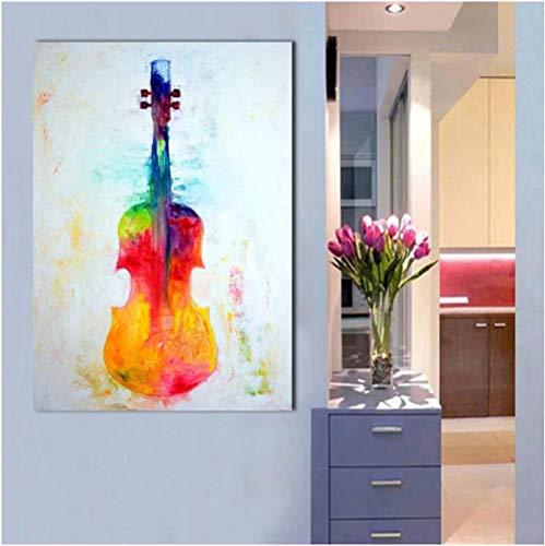 Jwqing Malerei Leinwand Kunst Home Decor Bunte Geige Malerei Wandkunst Bilder Poster für Wohnzimmer Modernes Bild (60x80cm ohne Rahmen)