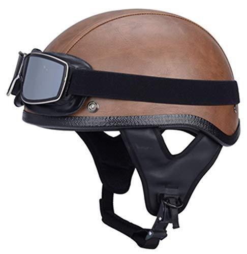 Cascos De Motocicleta,Medio Casco De Moto Con Gafas De Piloto,Certificación ECE Cascos Scooter Universal Para Moto Medio Casco Abierto, 3,L=58-59 cm
