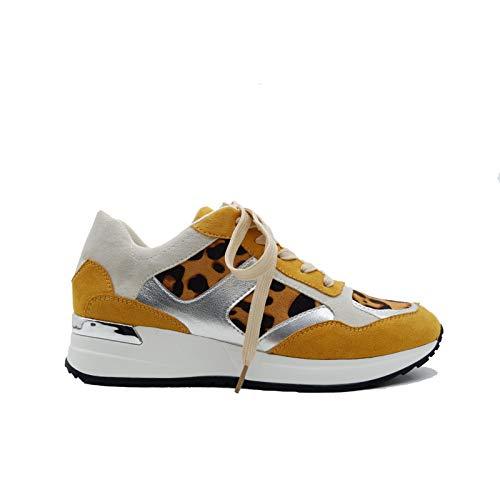 OKV Zapatillas de correr para mujer, cómodas, transpirables, antideslizantes, ligeras, a la moda., color Amarillo, talla 42 EU