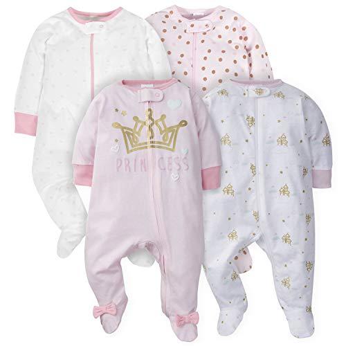 Gerber Baby Girls' 4 Pack Sleep N' Play Footie, Castle, Newborn