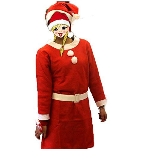 Herren Frau Weihnachten Weihnachtsmann Anzug Santa KostüM Vollbart Weihnachten Klassische Cosplay Kleidung Dark Rot Indoor-Outdoor-Einsatz(Weiblich)