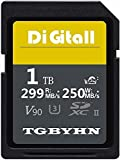 Tarjeta SD de alto rendimiento, 1024 GB, 1 TB, SDXC, tarjeta UHS-II, C10, velocidad de hasta 250 MB/S y 299 MB/S, ideal para cámaras digitales y videocámaras (1024 GB)