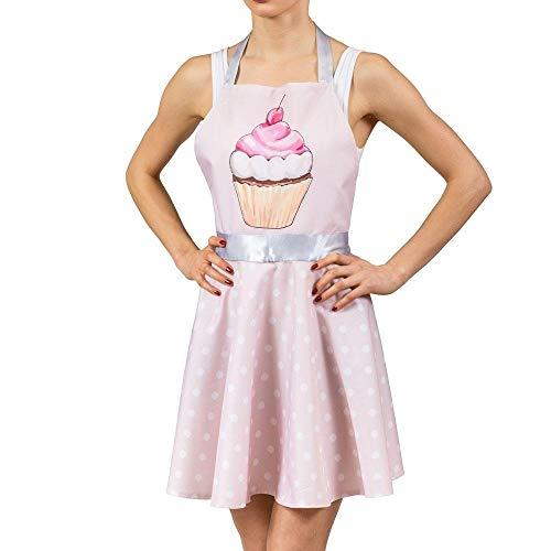 Rockabilly Kleid Kochschürze mit Muffin-Design in rosa - 1950er Kleid Küchenschürze