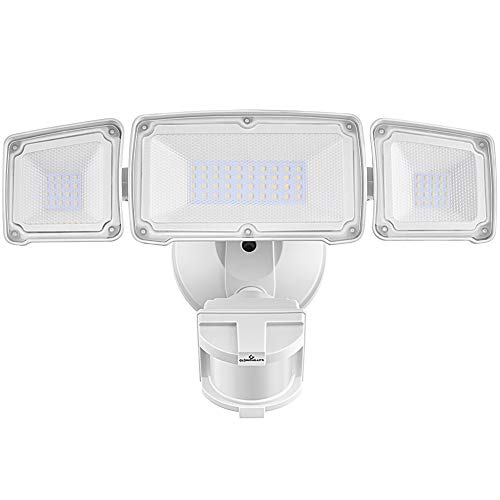 LED Security Lights, 35W Motion Sensor Light Outdoor, GLORIOUS-LITE Super Bright 3 Head Motion Security Light, 5500K, IP65 Waterproof, ETL Certified Exterior Flood Light for Garage, Yard- White