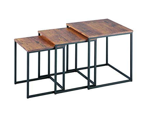 ASPECT Alana Set of 3 Nesting Table-Vintage Wooden Tops/Steel Black Legs, 40x40x42 cm