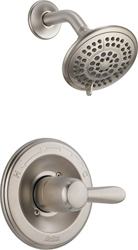 Delta Faucet Lahara 14 Series Single-Function Shower Trim Kit with 5-Spray Touch-Clean Shower Head, Stainless T14238-SS (Valve Not Included)