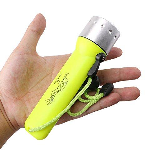 Linterna LED Linterna de buceo Linterna submarina profesional Linterna de buceo Linterna Tuffo 3 modos que incluyen la batería 18650 y el cargador de pesca para camping