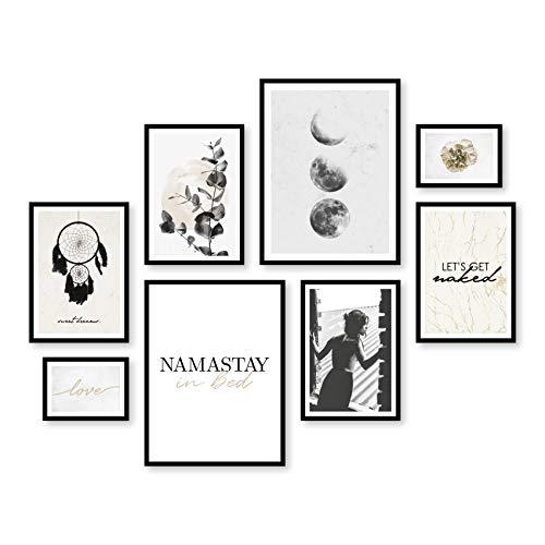 ARTFAVES Poster Set - Sweet Dreams   Deko Schlafzimmer schwarz-weiß Gold   8 Moderne Wandbilder Premium Mix   30x40-21x30-13x18   Bilder Wohnung, Wohnzimmer   ohne Rahmen
