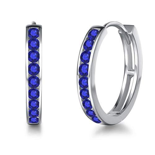 Creolen Ohrringe 925 Sterling Silber mit Zirkonia Sleeper Hoop Earrings Huggie Kreolen Ohrschmuck für Damen, Durchmesser 18 mm - Blau