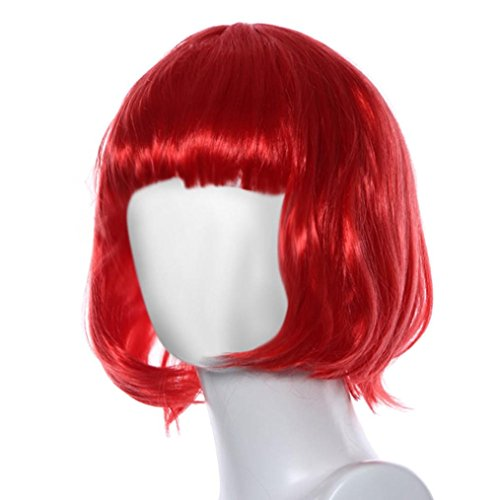 MuSheng(TM) Mascarade petit rouleau Bang courte perruque de cheveux raides (Rouge)