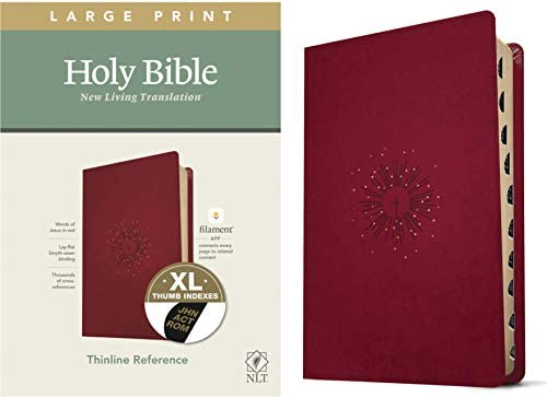 NLT Large Print Thinline Reference Holy Bible Red Letter LeatherLike Aurora Cranberry Indexed product image