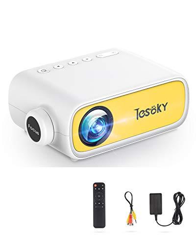 Tesoky YG280 Proyector, Proyector Portatil Compatible con USB/HDMI/DC/AV, Soporta Full HD y 23 Idiomas, Mini Proyector Cine en Casa para Regalo Infantil