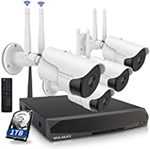 [5.0MP Two Way Audio] Wireless Security Camera System, 8 Channel Surveillance NVR Recorder and 4Pcs 5.0MP Home Outdoor Motion Activated IP Bullet Surveillance Cameras With Night Vision, 1TB Hard Drive