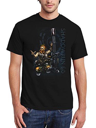 clothinx Herren T-Shirt Shadowrun Zwergen Rigger Schwarz Gr. 3XL