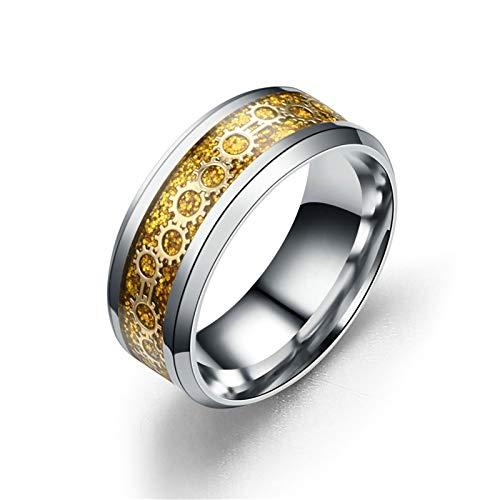 AieniD Anillos De Acero Inoxidable para Hombres Anillo De Patrón De Engranaje Borde Biselado 8MM Oro Plata para Hombres