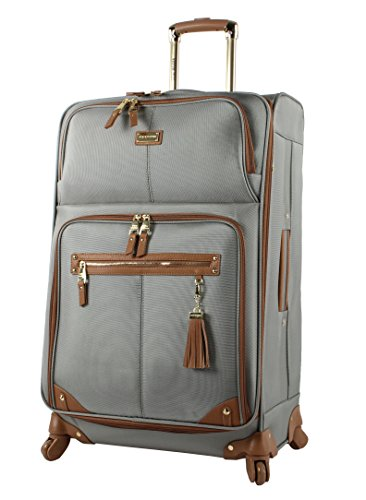 Steve Madden Designer Luggage - Checked Large 28 Inch Softside Suitcase - Expandable for Extra Packing Capacity - Lightweight Bag with Rolling Spinner Wheels (Harlo Gray)