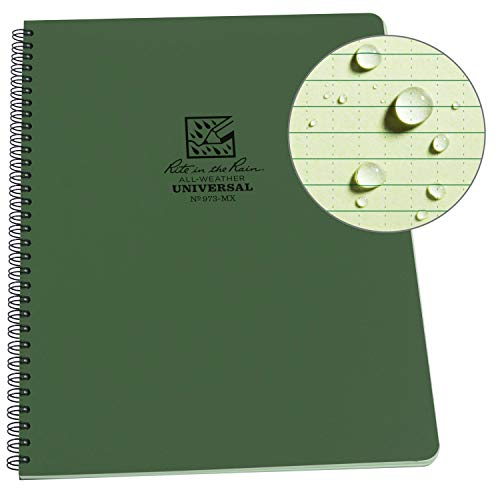 """Rite in the Rain Weatherproof Side-Spiral Notebook, 8 1/2"""" x 11"""", Green Cover, Universal Page Pattern (No. 973-MX)"""