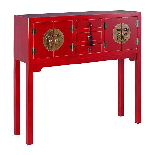 Consola de 3 cajones y 4 Puertas Oriental roja de Madera para salón Sol Naciente - LOLAhome