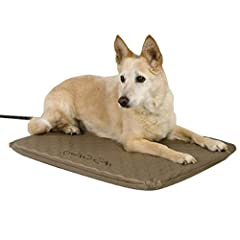 Outdoor heated dog bed with soft orthopedic foam. Includes free fleece cover Thermostatically controlled to automatically respond to temperature changes to warm to your pet's normal body temperature Ideal for sheds, garages, barns, or any sheltered a...