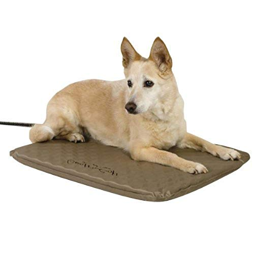 K&H PET PRODUCTS Lectro-Soft Outdoor Heated Pet Bed Tan Medium 19 X 24 Inches