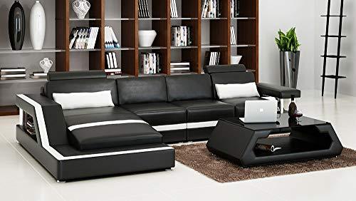 Its-Me - Sofá de esquina de alta calidad, clásico, moderno, fabricado con piel italiana, hecho a mano según sus deseos Negro/blanco L. 346cm x 192cm x 92cm