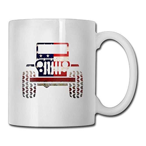 Amerikanische Flagge Jeep Kaffeetassen Geburtstagsgeschenk Keramik Teetasse , Ideales Geschenk für Familie & Fre&